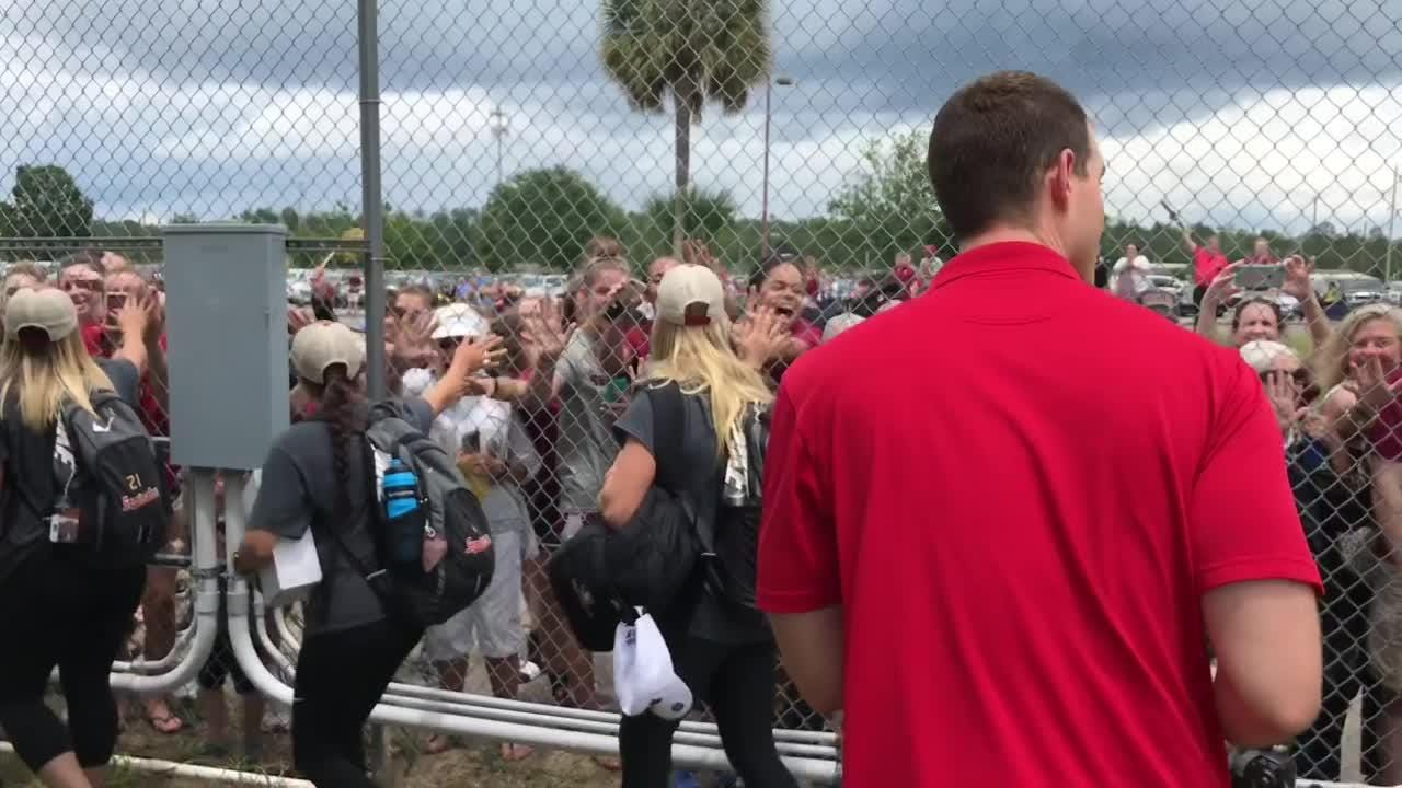 FSU fans greeted the FSU softball team as they returned home after winning a National Championship.