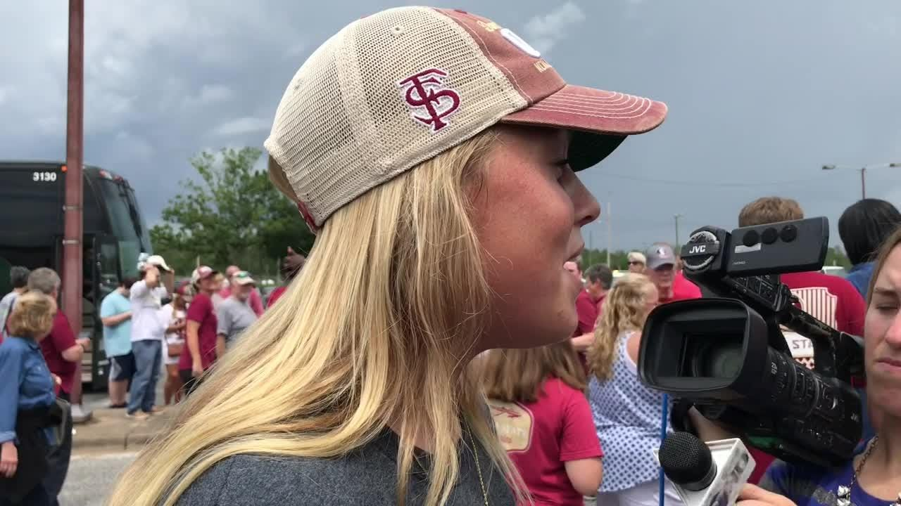 FSU pitcher Meghan King talks about FSU's National Championship and the homecoming crowd.