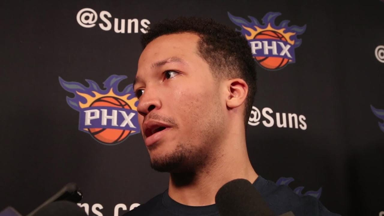 Jalen Brunson talks with the media after his workout with the Phoenix Suns on June 7, 2018.