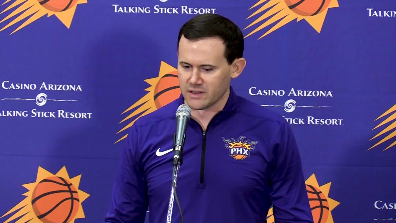 Suns General Manager Ryan McDonough talks about Duke forward Marvin Bagley III during the Phoenix Suns pre-draft workout on June 8, 2018.