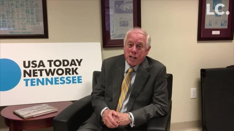 Gov. Bredesen, candidate for U.S. Senate, talks about tariffs during an interview with The Leaf-Chronicle