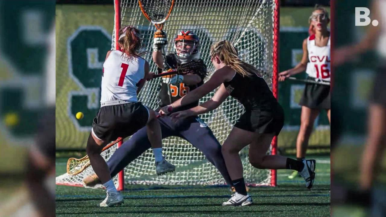 Middlebury girl's lacrosse fell behind early on, but fought hard to catch up and went goal for goal, pulling ahead at the end to beat CVU on Friday night, June 8, 2018, at Virtue Field at UVM.