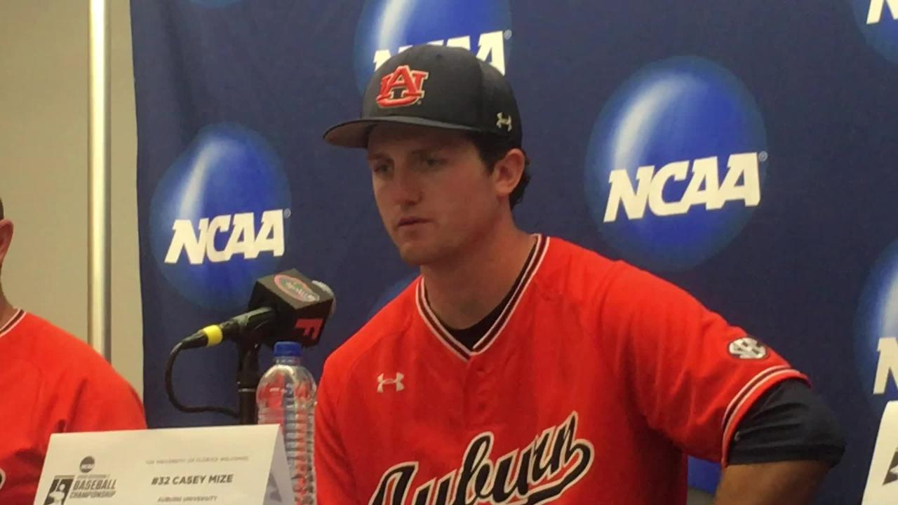 Auburn RHP Casey Mize after 8-2 loss to Florida in Game 1 of the Gainesville Super Regional.
