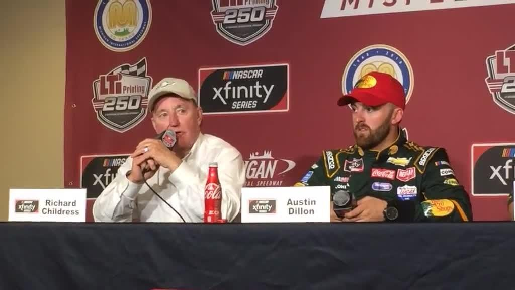 Austin Dillon talks to media after winning NASCAR Xfinity Series race at MIS