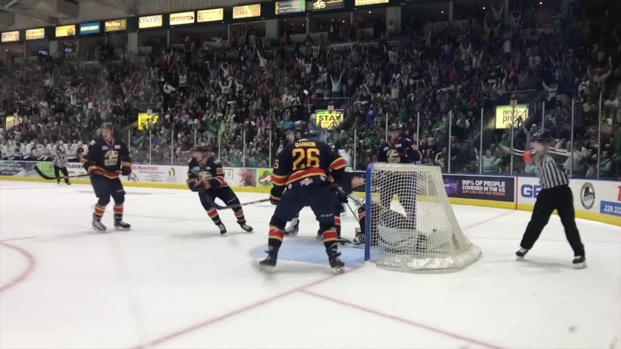 Officials said this was not a Florida Everblades goal Saturday night, June 9, 2018, late in the second period. The puck goes airborne and lands on the other side of the net, on or near the red goal line. The entire puck must cross the goal line to be considered a goal.