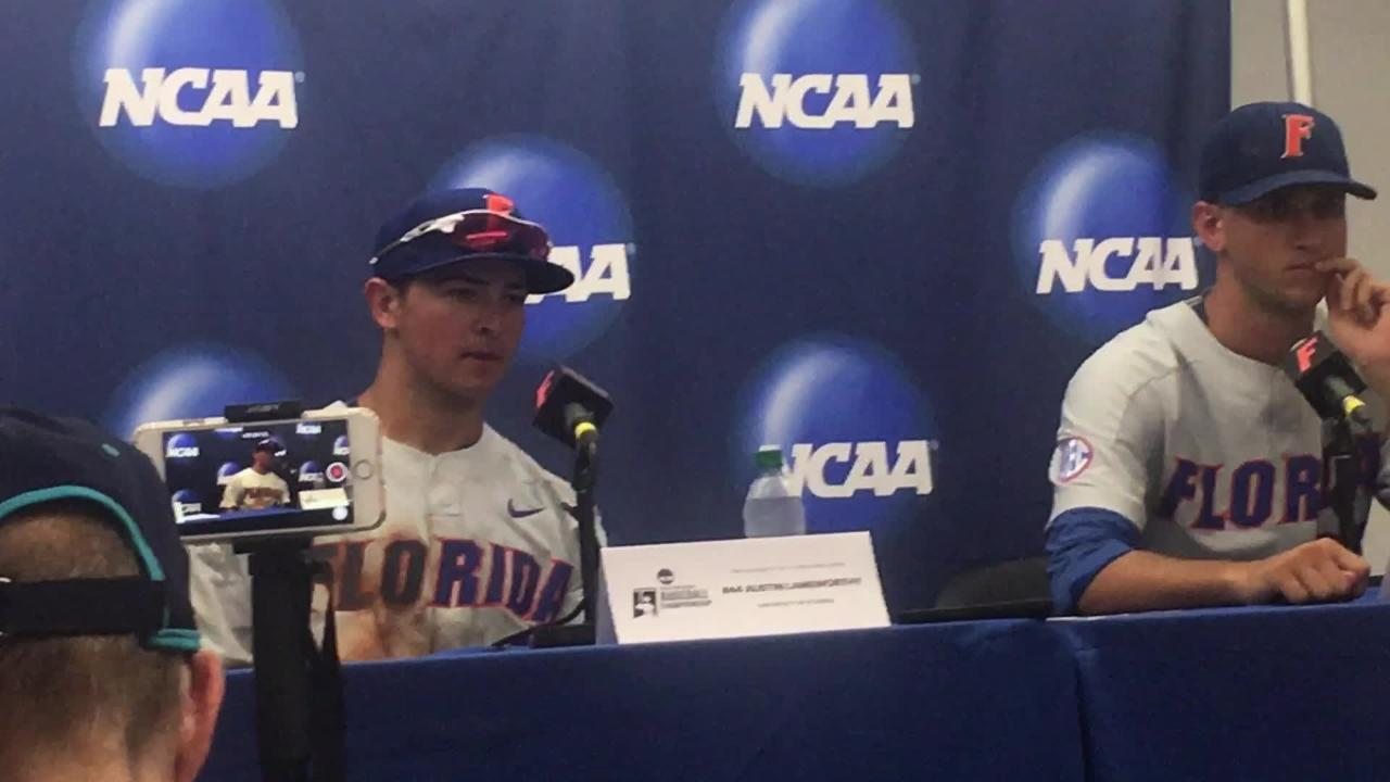 Florida players after 3-2 loss to Auburn in Game 2 of Gainesville Super Regional.