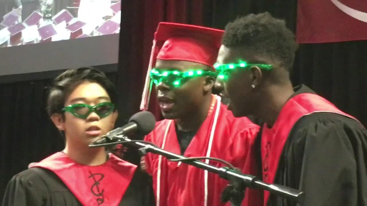 Well over 1000 graduates of the three Plymouth-Canton High Schools hit the streets after a day-long marathon of commencements.