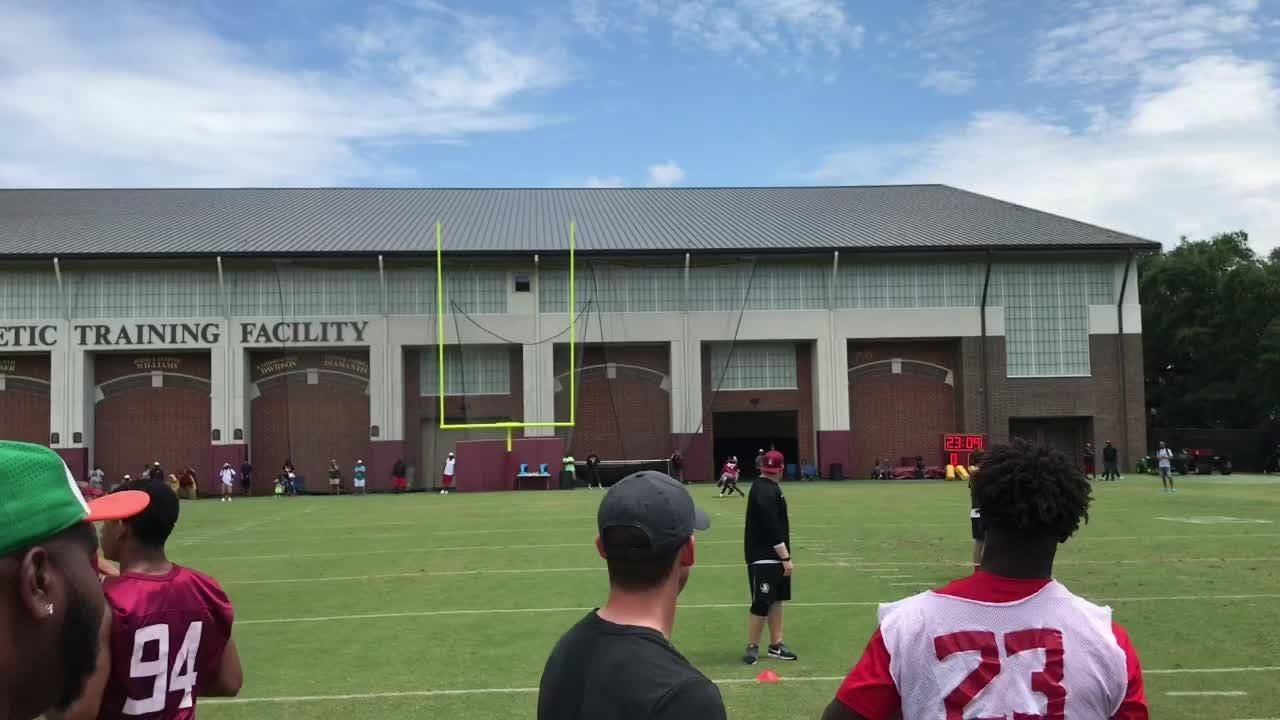 Standout 2022 quarterback Chad Mascoe Jr. throws at FSU's Skills Camp in 2018.
