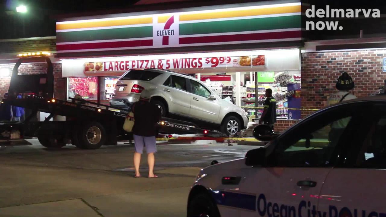 A car crashed into a 7-Eleven. Ocean City Police Department is investigating the incident on Monday.