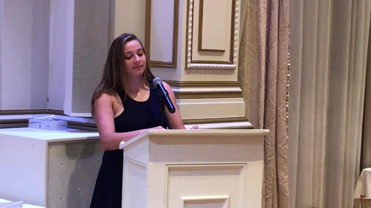 Lakeland's Sarah Deighan talks about overcoming type 1 diabetes upon accepting Passaic County Female Scholar-Athlete of Year Award on June 11, 2018.