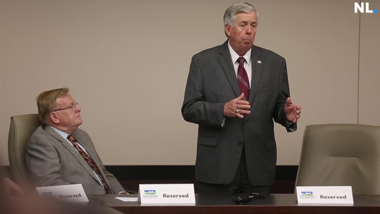 Gov. Mike Parson stopped at the Chamber of Commerce in Springfield for a listening session.