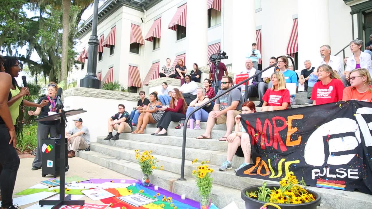 Around 50 Tallahassee residents gathered at the steps of the Old Capitol to honor the 49 victims on the second anniversary of the Pulse massacre.