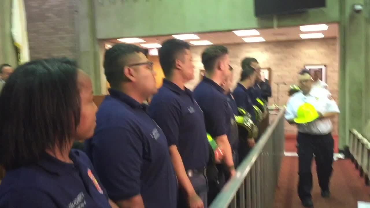 Mayor Anthony Fanucci administered the oath to10 Vineland Fire Department volunteers, who graduated from the Cumberland County Fire Academy.