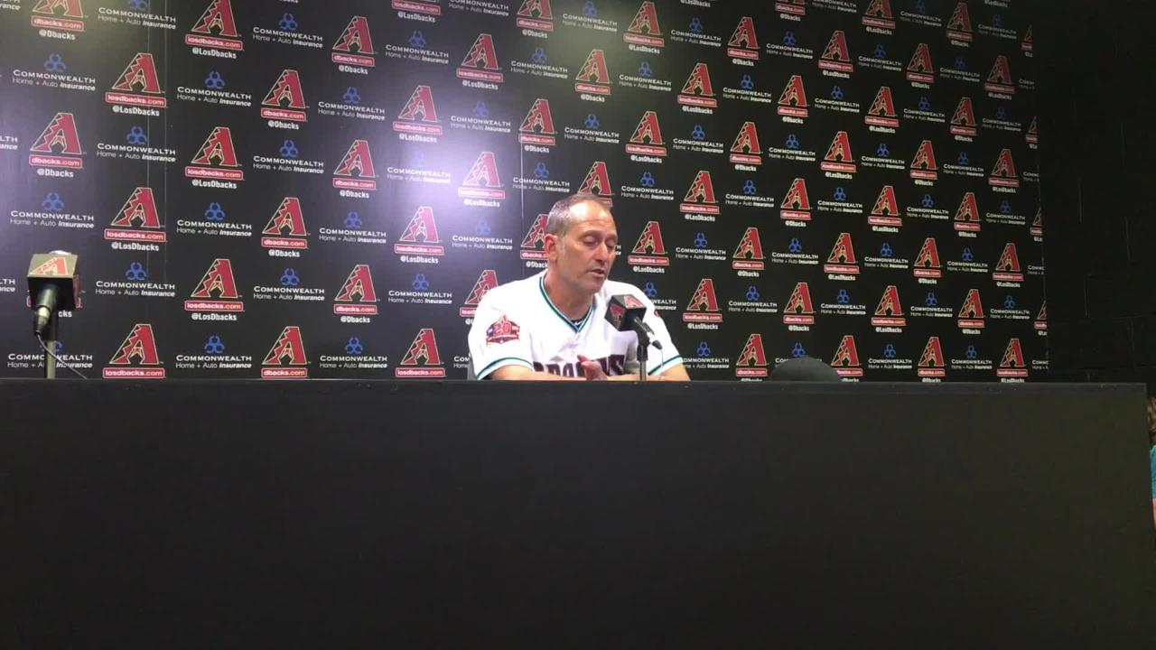 Lovullo breaks down a game in which the Diamondbacks scored six runs in the first inning. The team went on to win 13-8 over Pittsburgh on Tuesday.