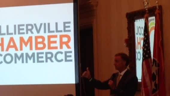 Tennessee Gov. Bill Haslam speaks Wednesday at the Collierville Chamber of Commerce breakfast at Ridgeway Country Club.
