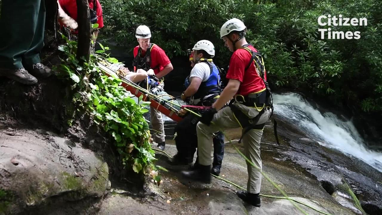 Members of the Transylvania County Rescue Squad held a waterfall rescue demonstration on a cascade below Cove Creek Falls in the Pisgah National Forest on Wednesday, June 13, 2018.