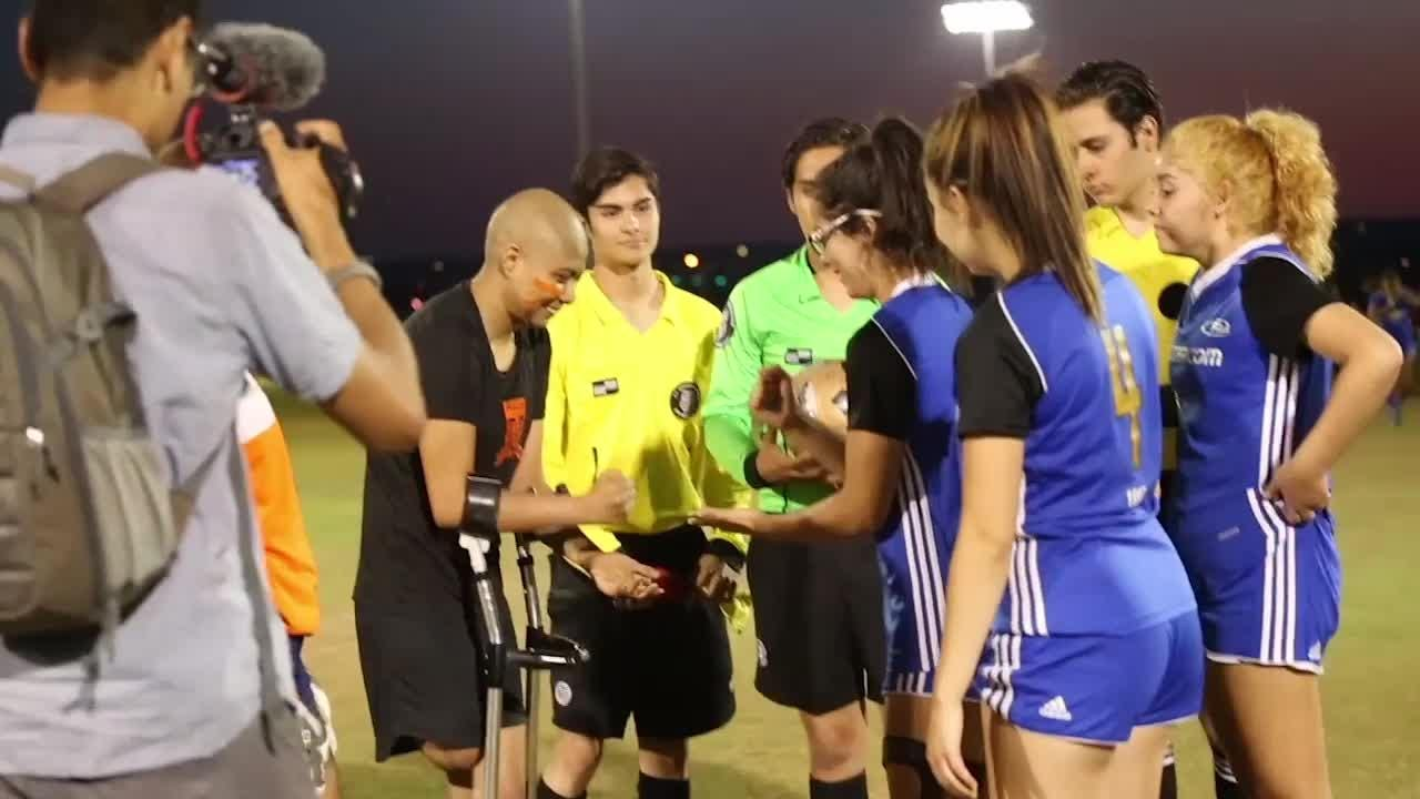 Janet Rodriguez, the Del Valle senior soccer player diagnosed in November 2017 with cancer, played a game with her club team FC Rage on her crutches.