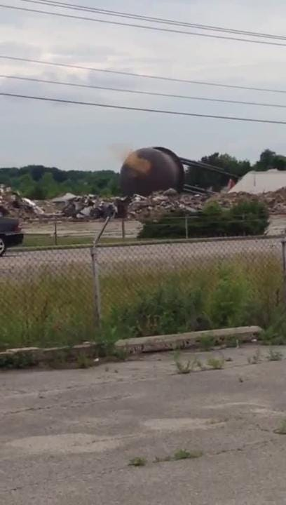 BorgWarner water tower comes down