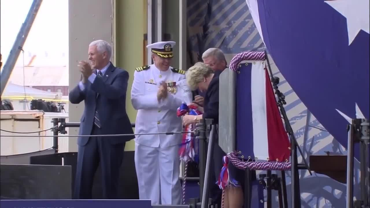 Virginia-class submarine USS Indiana is christened with the help of Vice President Mike Pence on April 29, 2017.