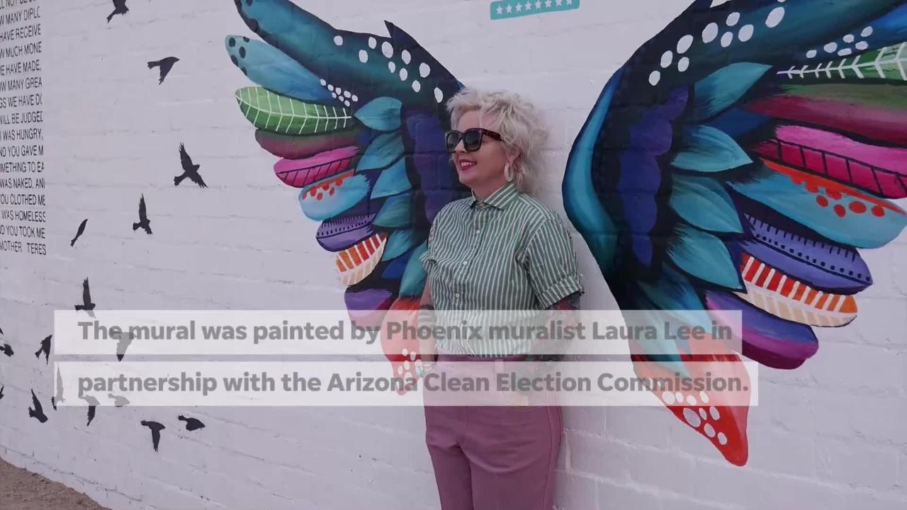 New interactive mural in downtown Phoenix encourages young adults to register to vote.