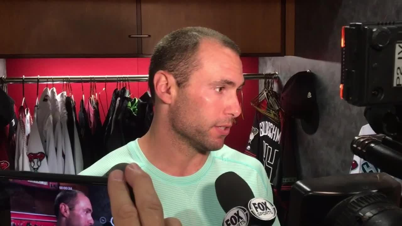 Goldschmidt discusses the Diamondbacks' 6-3 win over the Mets at Chase Field on Thursday. Goldschmidt had a solo homer in the third.