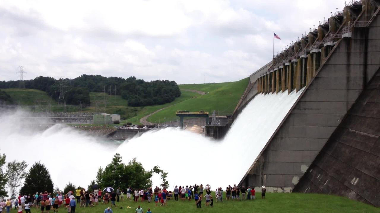 Water cascades through the Lake Hartwell spillway gates during a test on July 10, 2013, which attracted thousands of spectators.