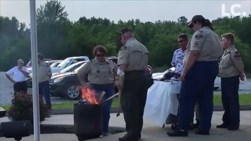 Several American flags were properly retired at ceremony hosted at Herb Gould Veterans' Park in Tennessee Ridge
