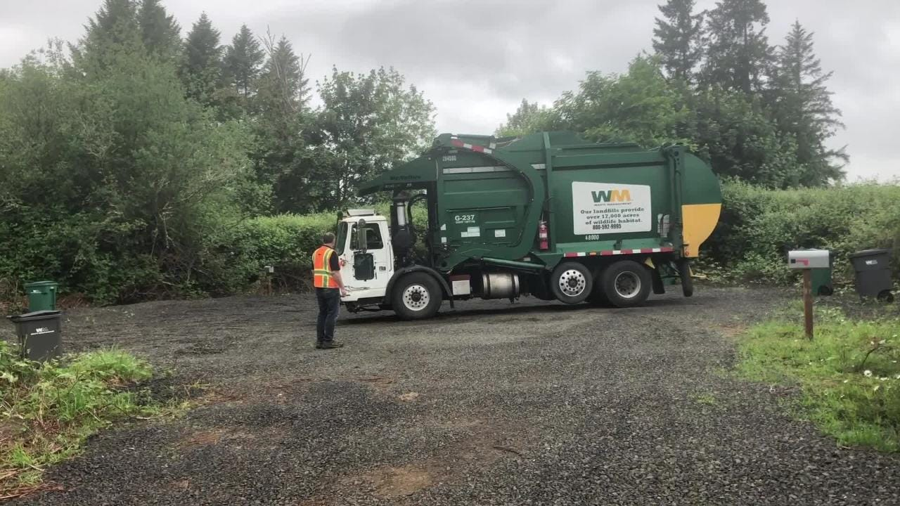 Waste Management's drivers in training take on the practice course at the new regional driver training center in Bremerton.