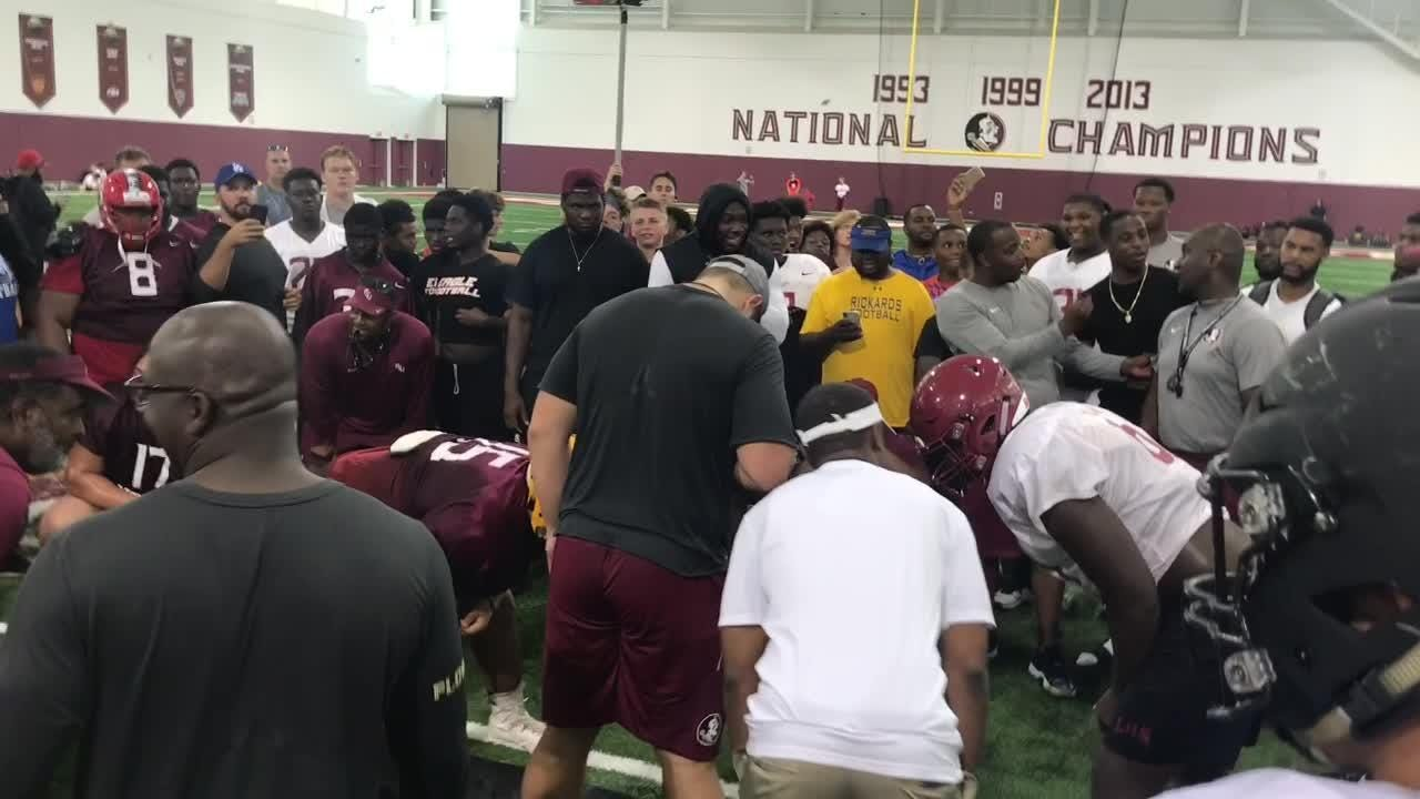Three-star offensive tackle Charles Cross works out at FSU during the Big Man Camp in 2018.