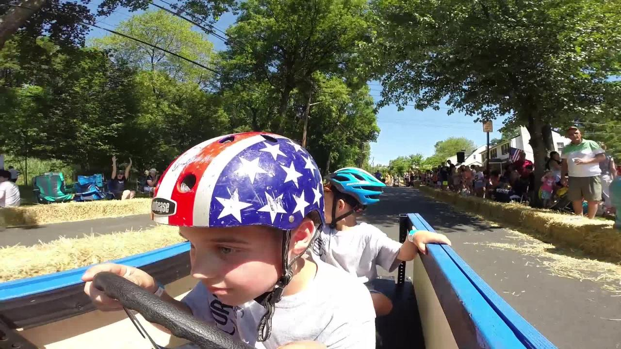 Spectators and hay bales lined the two-lane course on West Pierrepont Avenue as more than 50 cars competed in Saturday's Rutherford Down Hill Derby.