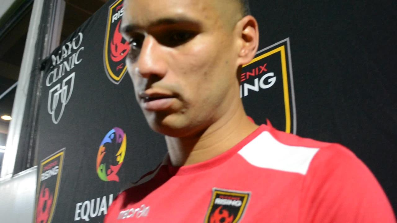 Phoenix Rising FC forward Chris Cortez discusses his team's 3-0 win over Tulsa Roughnecks FC on Saturday.