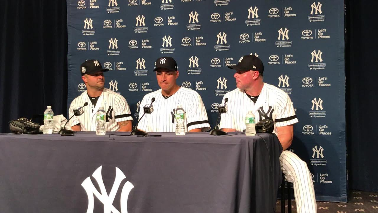 Nick Swisher, Andy Pettitte and Jason Giambi recap their first appearances in the Yankee Old-Timers' game on Sunday, June 17, 2018.