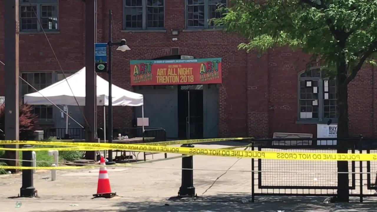 Raw video clips from the scene of the Art All Night Festival shooting in Trenton on Sunday.
