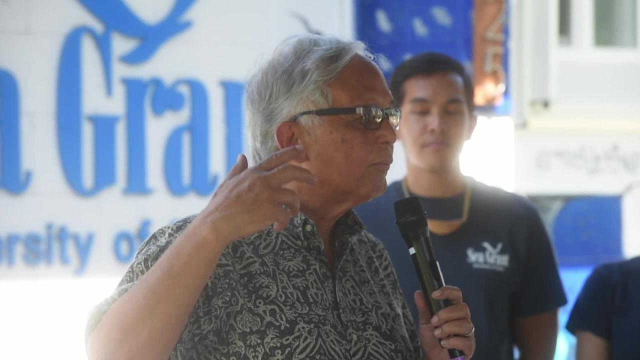 University of Guam President Robert A. Underwood discusses the Sea Grant Program at its headquarters grand opening on June 18, 2018.