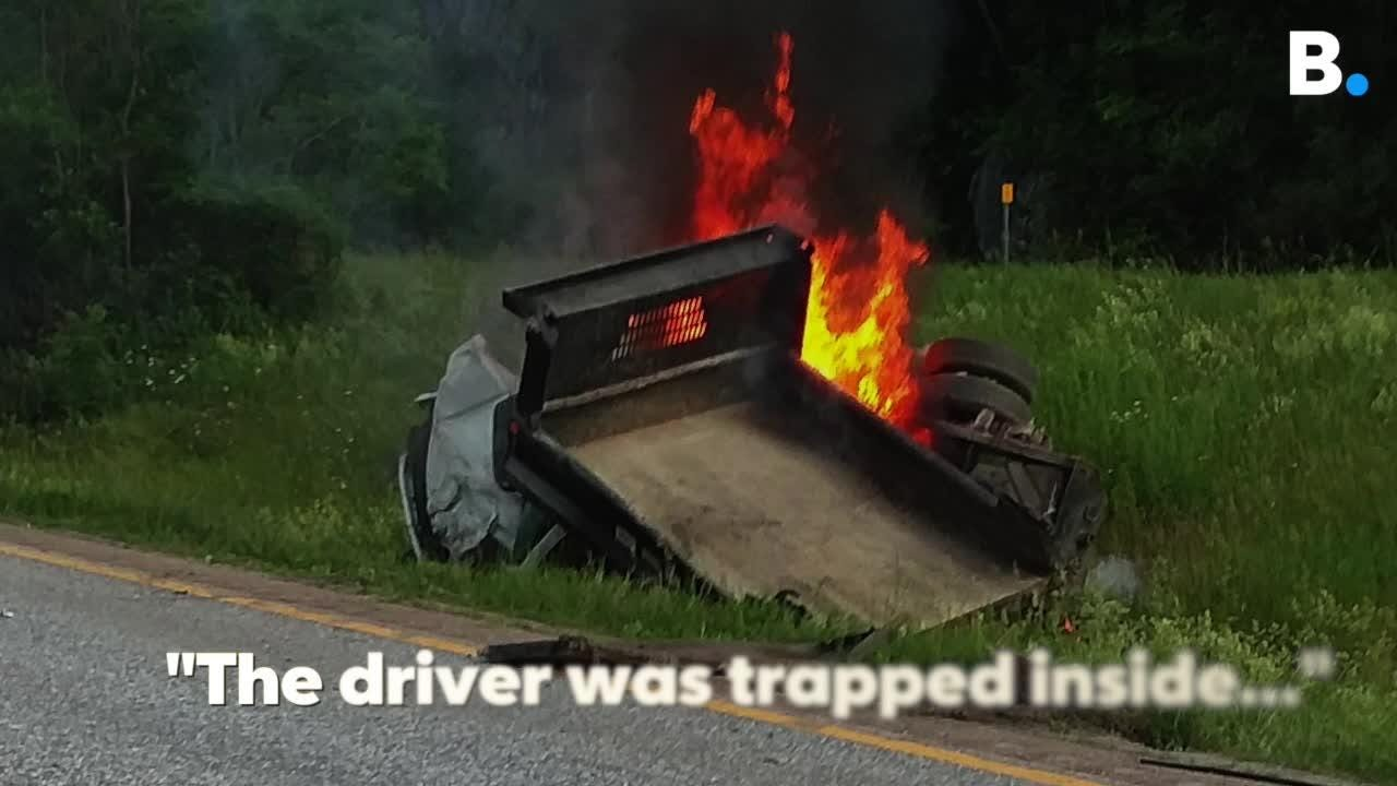 Images from eyewitness Garrett Chapman show a truck explode seconds after bystanders rescue driver on I89 in Bolton on Monday, June 18, 2018.
