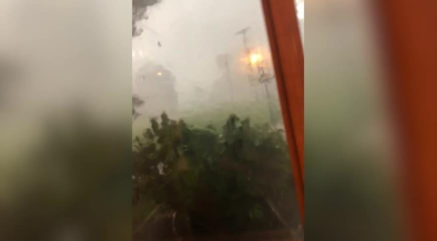 Camden Moellendick  took  video of heavy rain and high wind Saturday in Pleasant Township. The storm damaged a 100-year-old barn on the family's farm.
