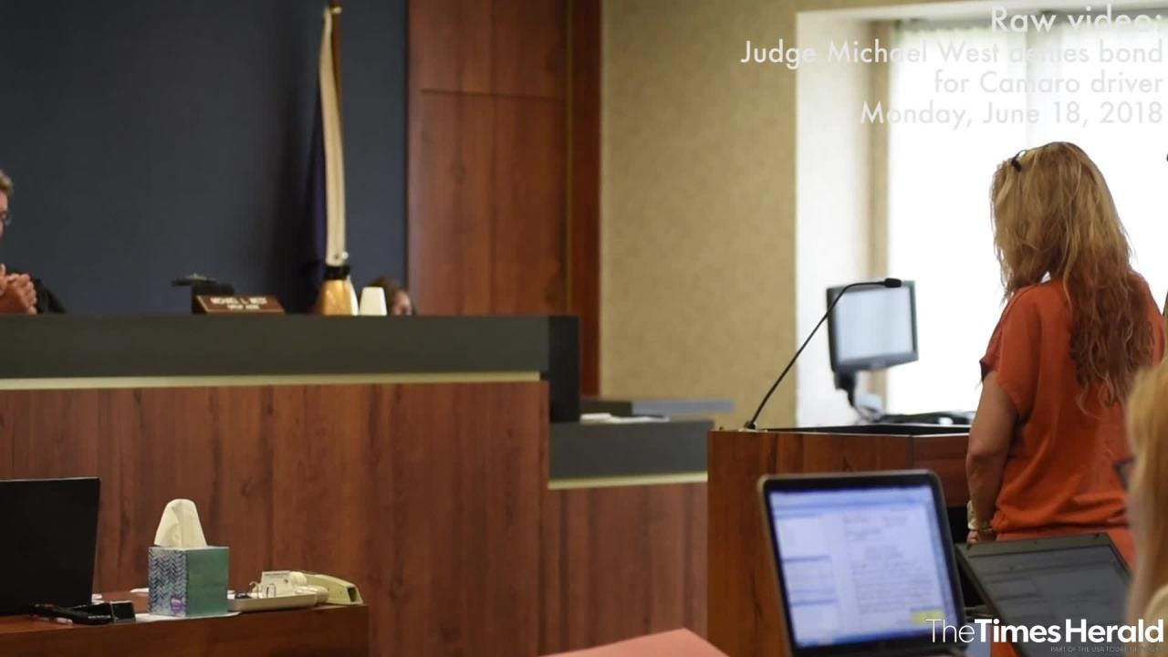 St. Clair County Circuit Judge Michael West speaks during the arraignment for Theresa Gafken Monday, June 18, 2018, in his courtroom in Port Huron. Judge West denied her bond.