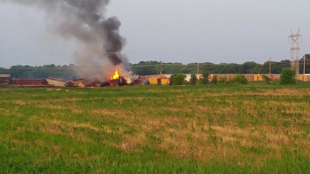 Twenty-three of train's cars derailed Sunday night, included 5 with propane tanks.