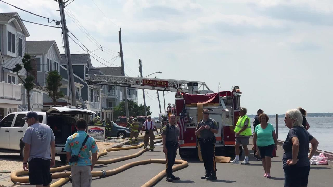 A look at the scene where a fire took place in Seaside Park.