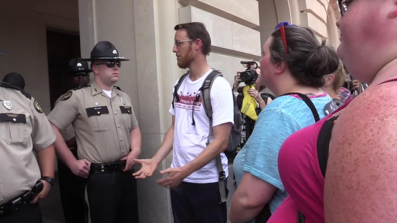 Jeremy Porter, of the Poor People's Campaign, was denied access for his group to the State Capitol Building in Frankfort.