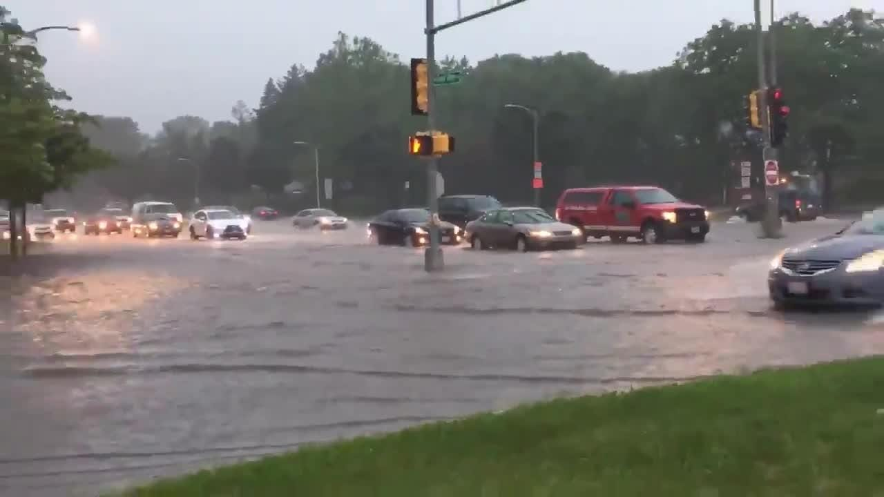 Good Hope Rd. and Teutonia Ave. in Milwaukee are nearly impassable with afternoon rains.