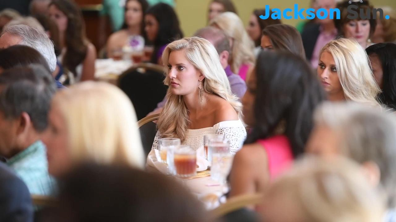 Miss Tennessee 2017 Caty Davis is joined with the 2018 Miss Tennessee Scholarship Pageant contestants at a luncheon hosted by civic organizations.
