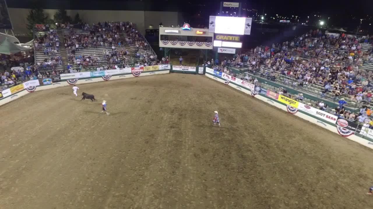 Bull jumper Manu Lataste performs on the opening night of the Reno Rodeo