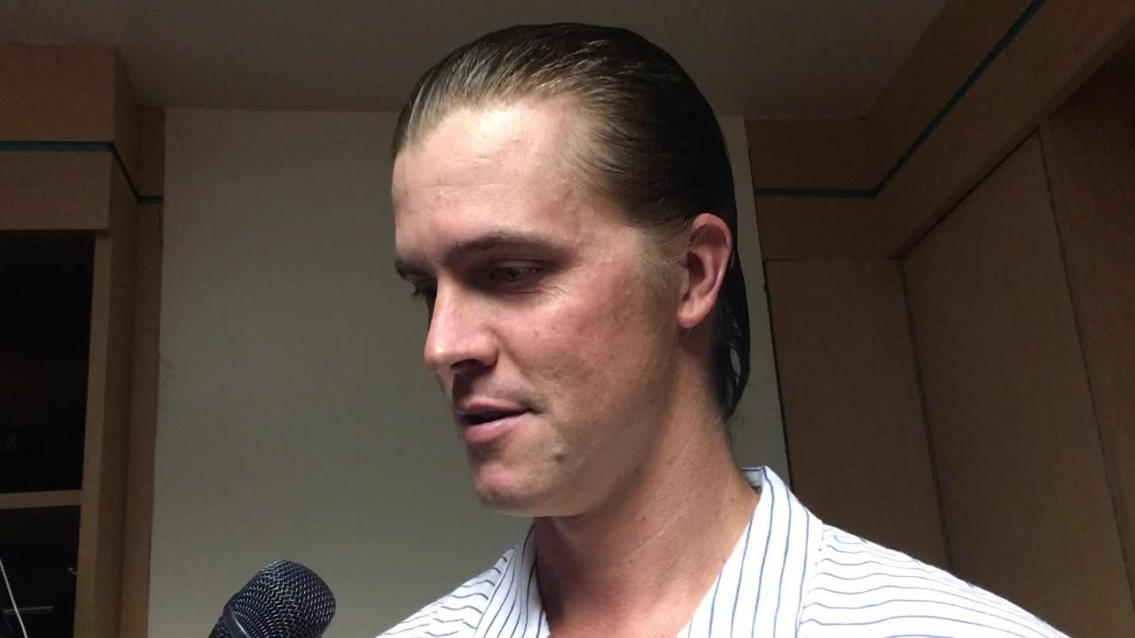 Diamondbacks right-hander Zack Greinke talks about his outing in a 7-4 win over the Angels on Monday night.