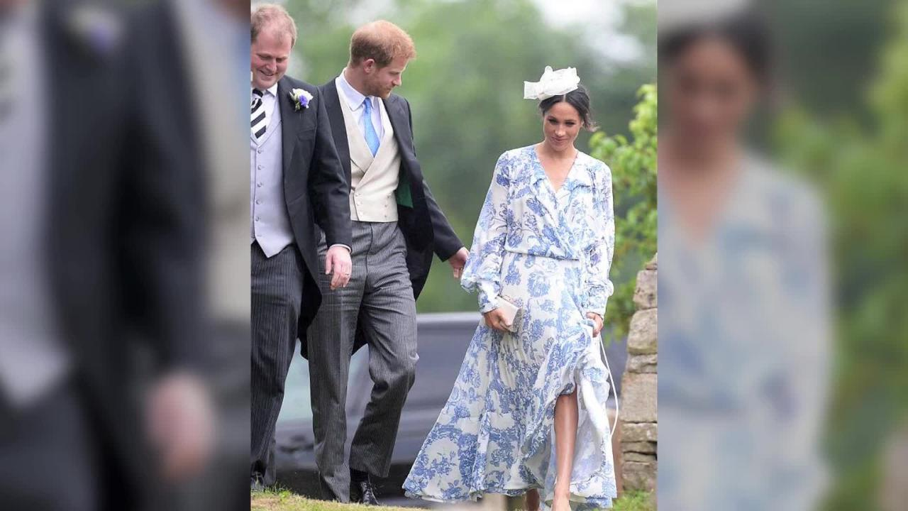 Duchess Meghan is mocked for wearing a baggy dress to family wedding.