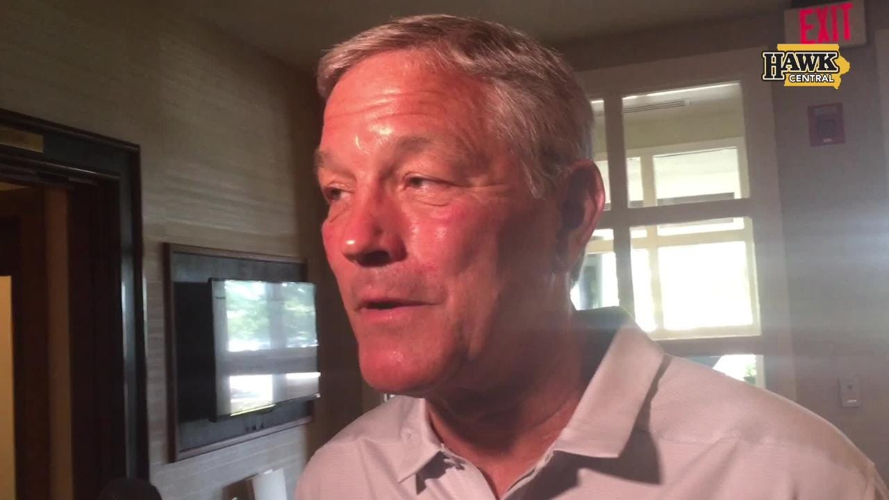 Iowa football coach Kirk Ferentz answers a variety of questions prior to a Polk County I-Club appearance at the Wakonda Club in Des Moines.