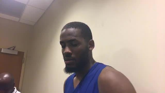 Georgia forward Yante Maten, who starred at Bloomfield Hills, speaks at the Detroit Pistons practice facility in Auburn Hills on June 19, 2018.