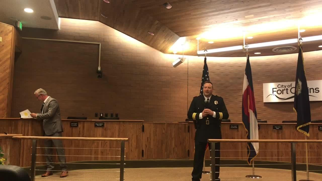 New Fort Collins Police Services Chief Jeffrey Swoboda swears into office and gives opening remarks about his plans for office.