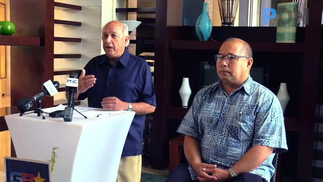 Gubernatorial candidate and former Guam governor, Carl Gutierrez, talks about war reparations during a press conference in Tamuning on June 20, 2018.