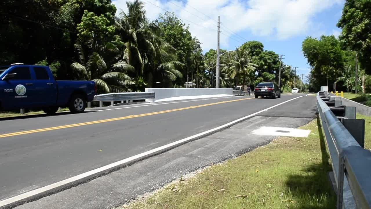 Government officials conducted a  ribbon cutting ceremony for the newly renovated bridges in Merizo on June 20, 2018.